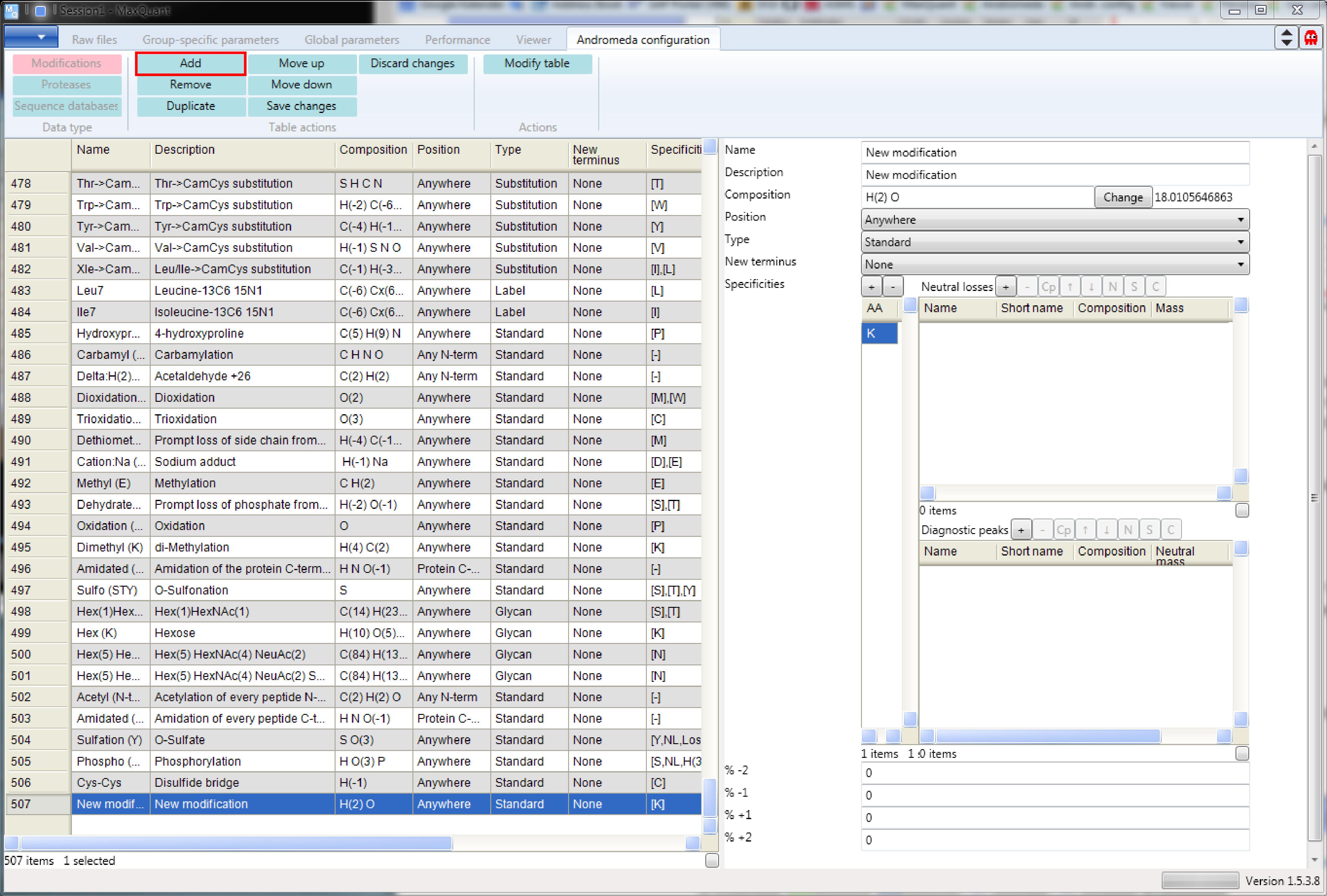 maxquant andromeda configuration modifications maxquant documentation