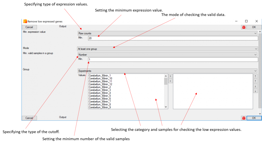 Perseus pop-up window: DE analysis -> Remove low expressed values